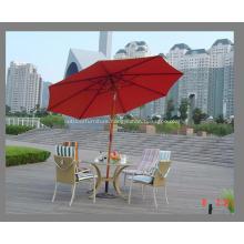 Wooden Tilt Pole 8ribs Red Fabric Umbrella
