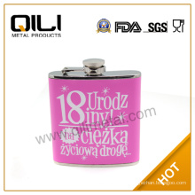 6oz hot sale leather wrapped stainless steel popular liquor unusual gifts with screen painting