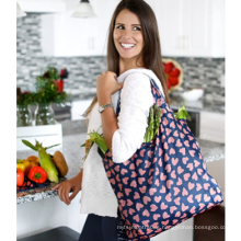 Eco Friendly Reusable Waterproof Polyester Heavy Duty Folding Shopping Bag Foldable Grocery Tote Bag