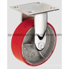 4 Zoll Heavy-Duty Eisen PU fixiert Caster Wheel