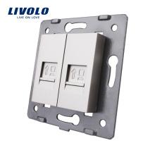 Производство Livolo Серая настенная розетка для аксессуаров Основа компьютерной интернет-розетки Lan RJ45 / Розетка VL-C7-2C-15