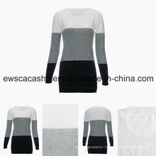 Women′s Round Neck Long Sleeve Tri-Colors Top Grade Pure Cashmere Sweater
