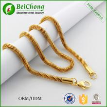 2015 nuevo oro plateado de la joyería collar de malla