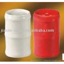 set sel et poivre en porcelaine blanche et rouge JX-80A