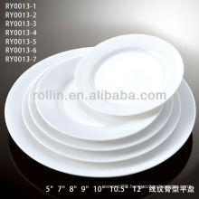 healthy special durable white porcelain flat round plate