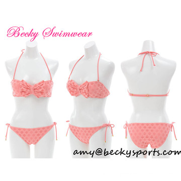 Sexy Girl′s Swimwear Swimsuit with Bow and Lace
