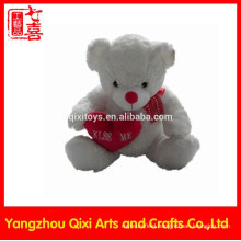 Wholesale plush white color teddy bear red heart valentine bear