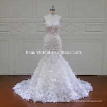 XF16066 ajuste y estilos de llamarada de vestido de novia de sirena con vestido de novia especial de flor de encaje 3D 2017