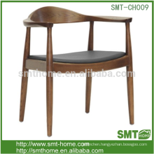Traditional Antique leather seat oak wood classic dining chairs