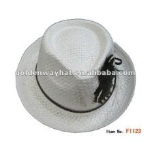 Mode Polyester Mini Creme farbigen Fedora Hut für den Menschen