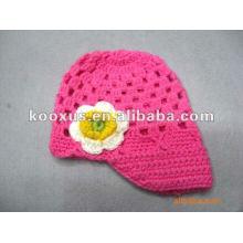 Baby младенческой малыша ручной вязание шапочка шапочка с ромашкой цветок Clip