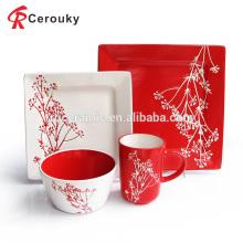 Китай производитель белый и красный цвет глазури квадратный керамический набор посуды