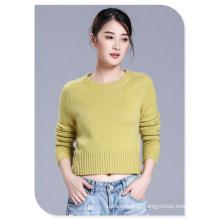 Senhoras ′ Slim Fit camisola curta Pure Cashmere Top pulôver com gola e mangas compridas