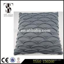 Escala de pescado grises al por mayor almohada de almohada decorativa de tejer cubiertas de hilo para almohada