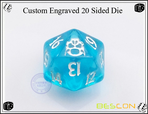 Custom Engraved 20 Sided Die