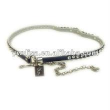 Rhinestone And Chain Genuine Leather Belt