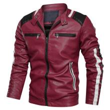 Jaqueta masculina de couro PU para motociclista de alta qualidade, personalizada por atacado