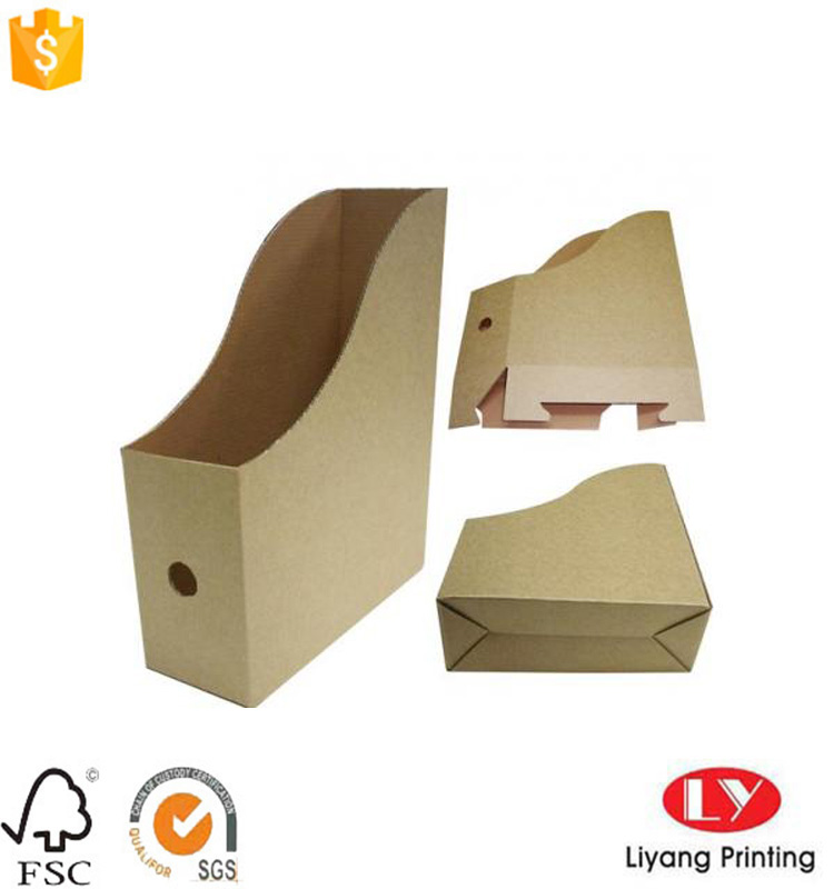 brown self-folded corrugated cardboard file holder