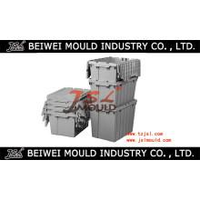 Caixas de Tote de plástico com fabricante de molde de tampas articuladas