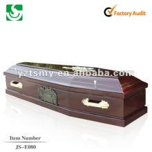 satin à l'intérieur du cercueil en bois massif JS-E080