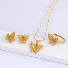 Presente de Natal Jóias da forma 18k banhado a ouro conjunto de jóias da borboleta (60823)