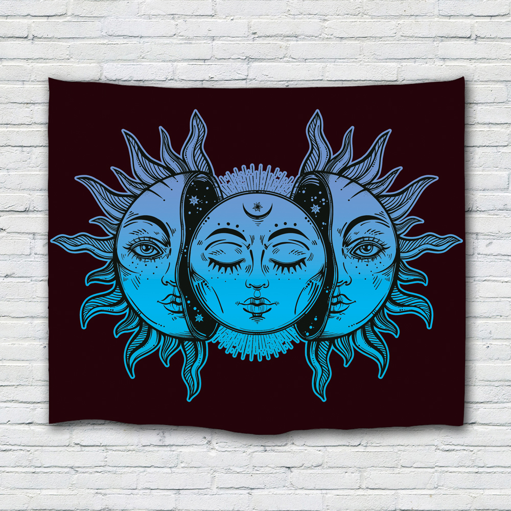 Sun and Moon Face Tapisserie Mandala Wandbehang Indian Hippie Bohemian Psychedelic Mystic Tapisserie für Wohnzimmer Schlafzimmer Home D