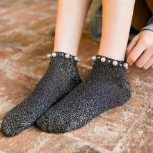 Модные женские носки до щиколотки из хлопка с жемчугом сплошного цвета, дышащие для женщин