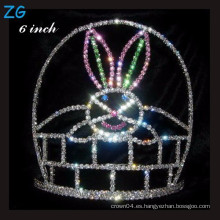 Conejo de conejo pintado corona Tiara de Halloween para los cabritos, corona de pascua cristalina