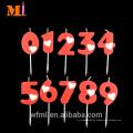 Decoración de pastel de nivel más alto Custom Logo Birthday Número rojo de vela