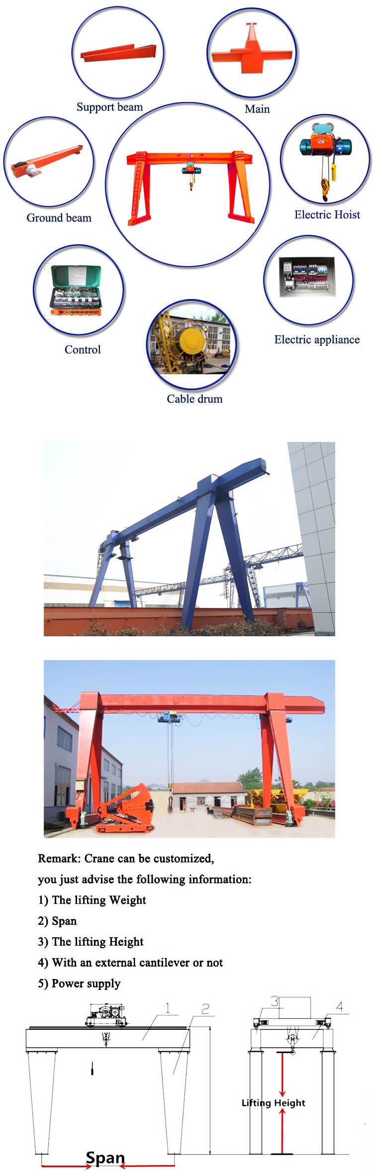 3 Ton Electric Hoist Goliath Crane