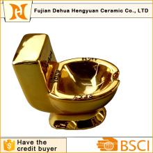 Funny Gift of Gold Plating Toilet Shape Ceramic Ashtray