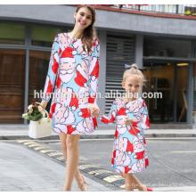 2017 neue Modell Weihnachten Kittel Designs Weihnachtsmann Deer Gedruckt Mama Und Mich Passenden Kleidung Mutter Und Kind Kleid