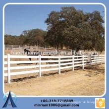 Alta calidad 2 carriles, 3 carriles y 4 carriles PVC blanco Cerca de caballos, cerca de rancho, cerca de granja de vinilo blanco