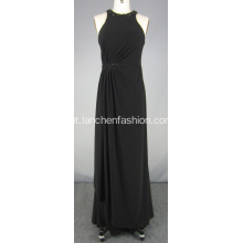 Vestido de Chiffon Halter Dress Black Red Carpet