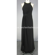 Chiffon Halter Dress Black Red Carpet Dress