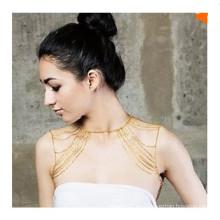 Moda de oro de color hombro cadenas de joyería cuerpo para las mujeres