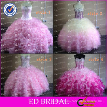 ED Bridal Pink Ball Gown Real Sample Ruffle Organza Crystal Beaded Western Quinceanera Dresses
