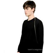 Черный Мода Грудь Молнии Толстовки Хлопок с длинным рукавом