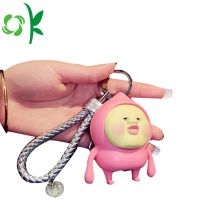 Silicone Keychain Kentut Peach 3D Keyring Silicone Accessories