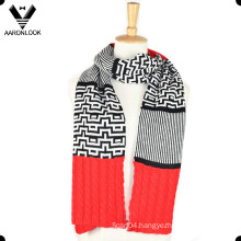 Lady′s Fashion Jacquard Joint Knitting Pattern Scarf
