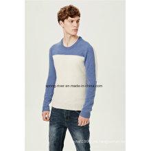Nylon Lambswool cuello redondo jersey de punto para los hombres
