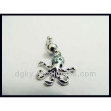 Octopus Navel piercing anneau diamant bouton ventre