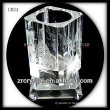 K9 Crystal Pen Holder com imagem gravada