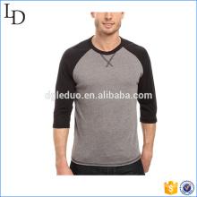 T-shirt de base-ball de combinaison de couleur d'ourlet droit en gros 3/4 de douille de douille
