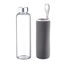 550ml Single Wall Glass  Water Bottle with carry loop motivational glass water bottle