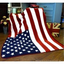 100% Poliéster Coral Fleecethe Estados Unidos Flag Blanket