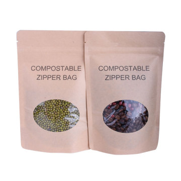 Stock Kraft Paper Packaging Stand Up Pouch Dengan Ziplock Dan Clear Window
