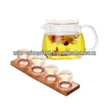 Borosilicate Hand Made Liqueur Glass Teapot And Cup Set