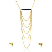 Gold überzogene Kette überlagerte Hochzeits-Mode-Brautfeinen Schmuck-Set-Schmucksachen