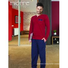 Miorre Wholesale Men's Long Sleeve Comfortable Patterned Cotton Pajamas Set